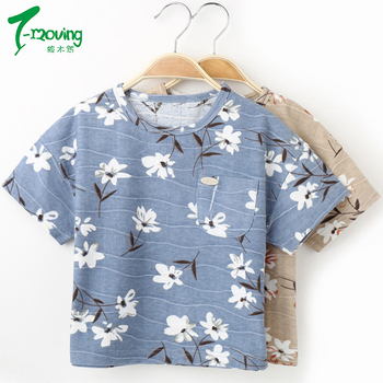 2018 Kids T-shirts For Girls O-neck Floral Design Children T Shirts For Boys Short Sleeve Tops Spring Summer Cotton Tshirt