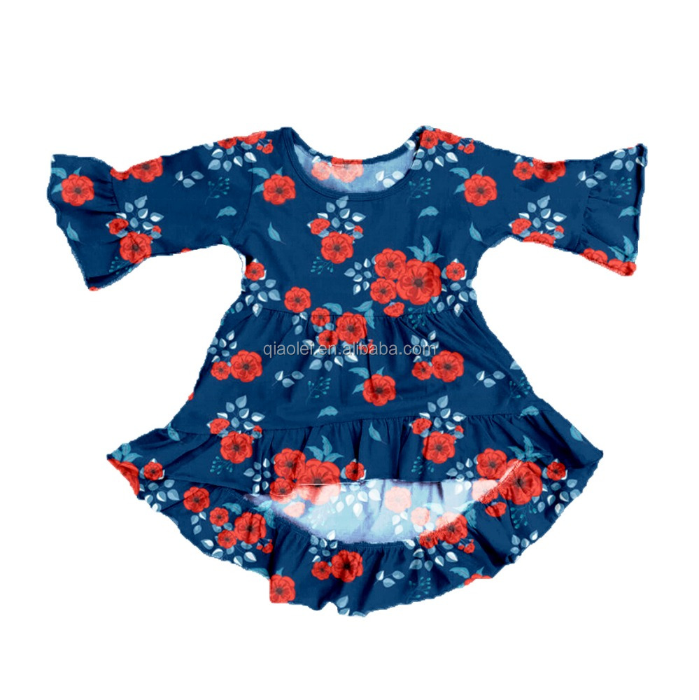 Flowers Printed Baby Clothes Long Sleeve Tunic for Spring Clothing Girls Dresses