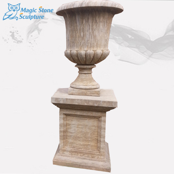 Alibaba & Roman Style Yellow Color Flower Pots Garden Stone Planter Pots With Pedestal For Sale - Buy Natural Stone PotsVertical Garden PlanterGarden Stone ...