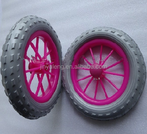 high quality puncture proof 12'' EAV solid foam wheel plastic rim Children's balanced bike child wheel balance car wheels