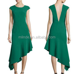 Fashionable Korean Style Cocktail Dress Women Sexy Simple Green Plus Size Deep V Neck Backless Long Asymmetric Cocktail Dress