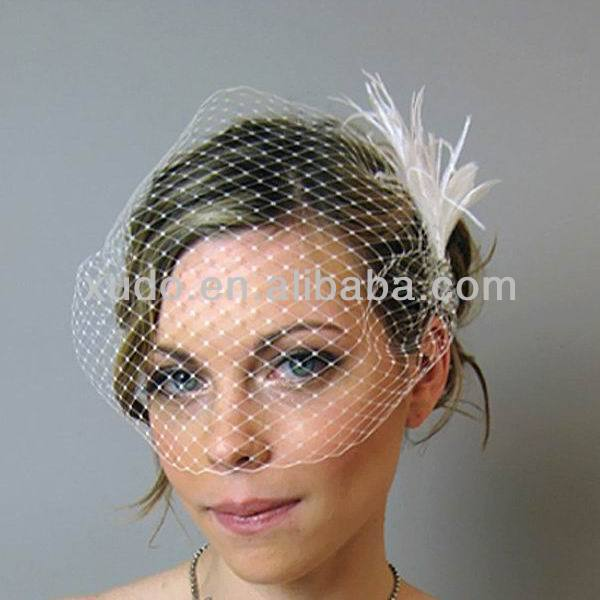 latest handmade wedding birdcage veil with white feather flower comb