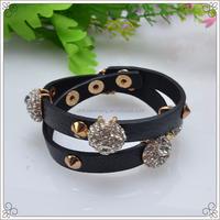 Black Slide Charms Pu Leather Bracelet With Crystal