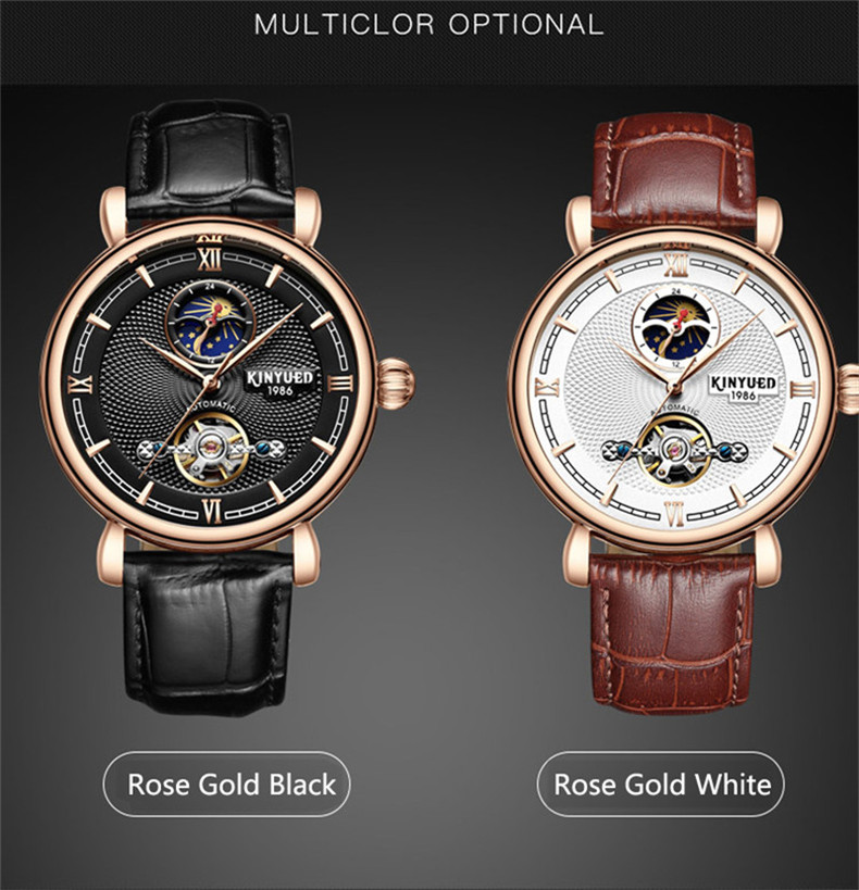 Top Brand Tourbillon Mens Watches Automatic Watch Golden Case Moon phase Male Clock Mechanical Watch Relogio Masculino
