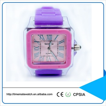 Custom 3 Bar Water Resistant Silicone Wrist Watch Stainless Steel Case Back Quartz