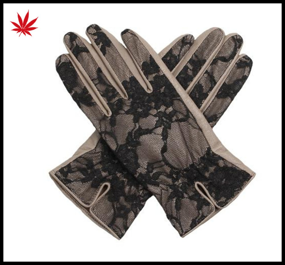 2017 women's hot sale lace back grey leather gloves