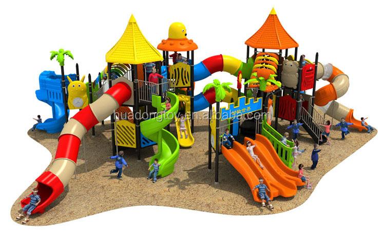 Kinderen grote openbare outdoor speeltuin plastic slides
