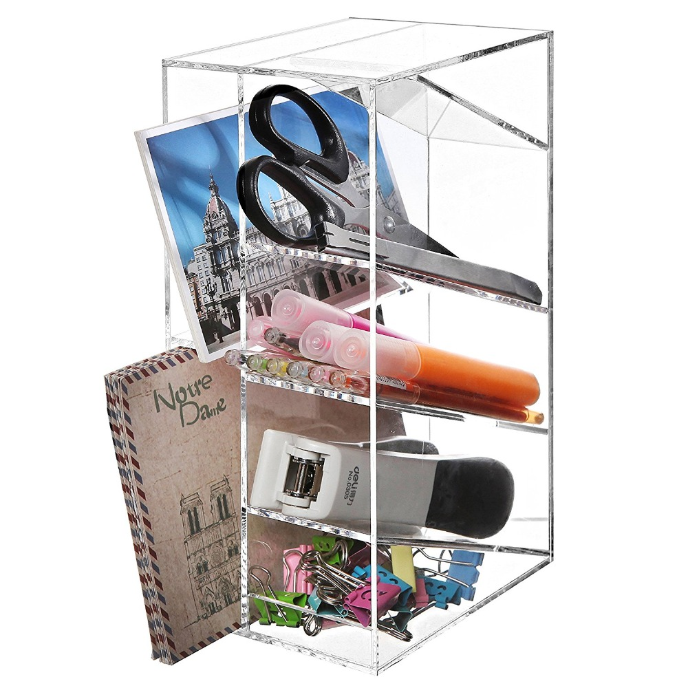 Modern Clear Acrylic Office Desktop Letter Mail Sorter / Pen & Pencil Holder / Home Organizer