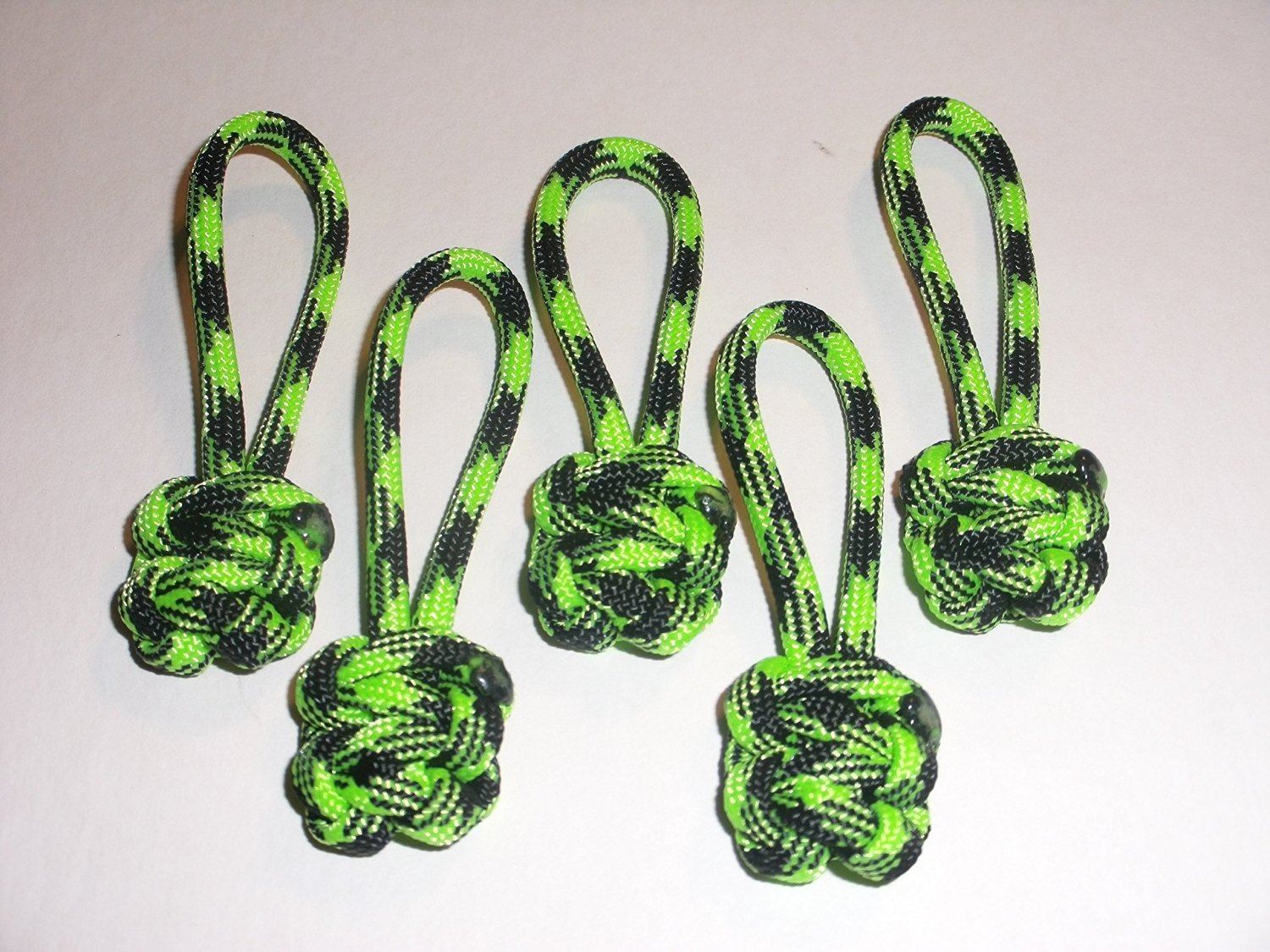 RedVex Paracord Zipper Pulls / Lanyards - Lot of 5 - ~2.5 - Zombie Outbreak Green