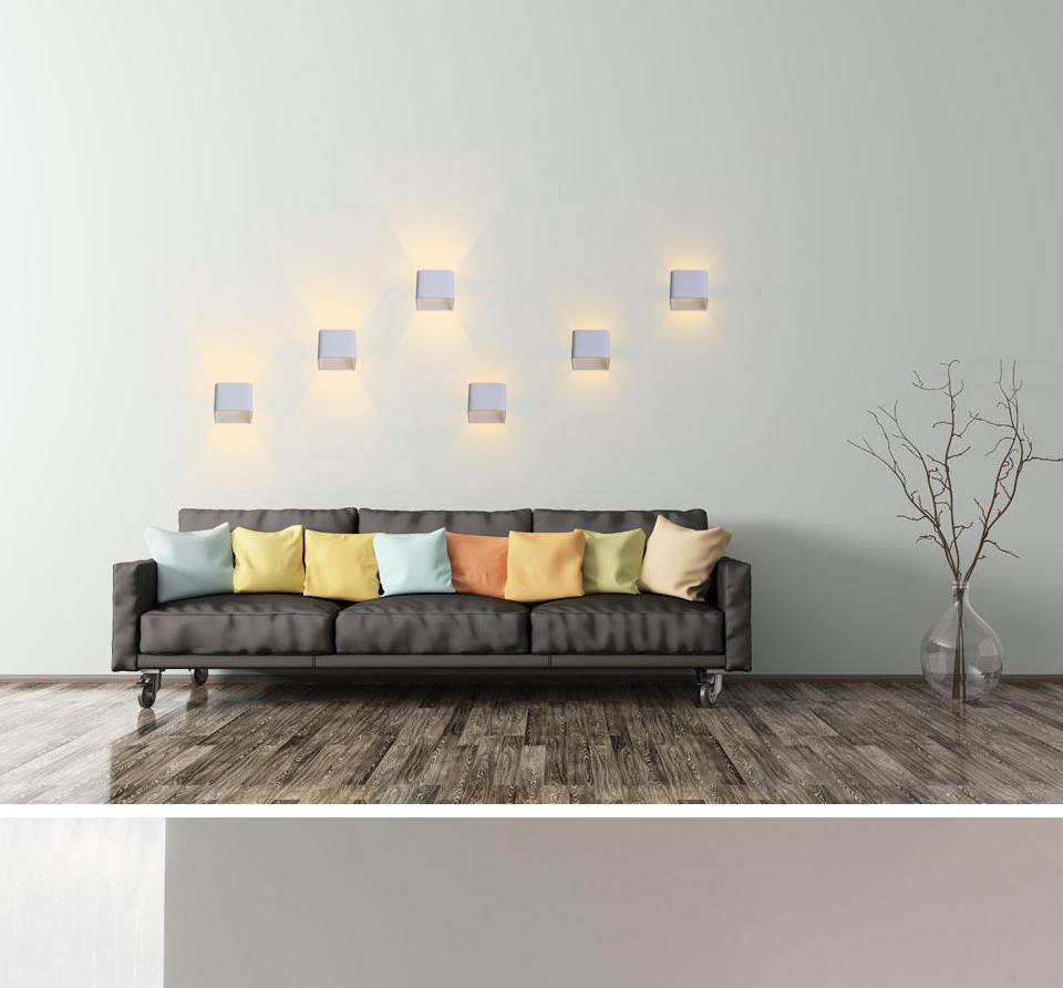 Moderna Lampada Da Parete A Led 6 W Quadrato Di Alluminio Applique Da  Parete Per Soggiorno Camera Da Letto Muro Bianco Illuminazione (bianco  Caldo) - ...