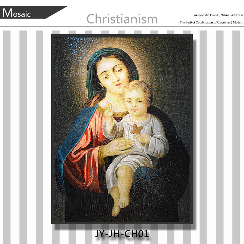 JY-JH-CH01 Christianism popular wall mural Religious art glass The mosaic portrait of Maria