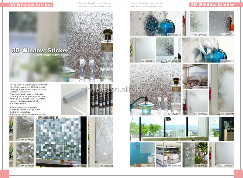 Custom no glue sliding door glass sticker static cling reusable window decorative self adhesive film sticker