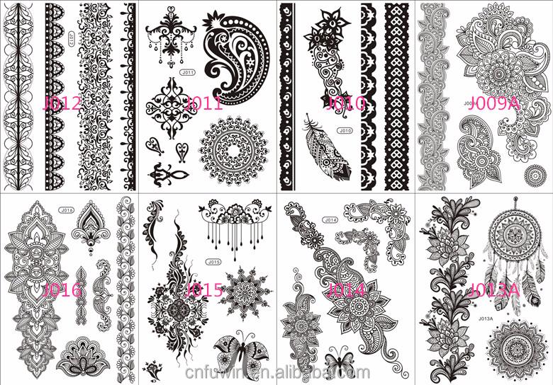 schwarz schmuck armband k rper henna tattoo schablonen m dchen tattoo aufkleber kurzzeitige t to. Black Bedroom Furniture Sets. Home Design Ideas