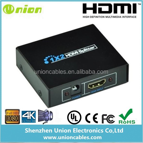 1080P HD HDMI Splitter 1x2 Ports HDMI Switch Amplifier Repeater For Dual Display