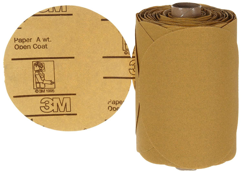 "3M Stikit Gold Paper Disc Roll 216U, Paper, PSA Attachment, Aluminum Oxide, 5"" Diameter, P120 Grit, Gold (Roll of 125)"