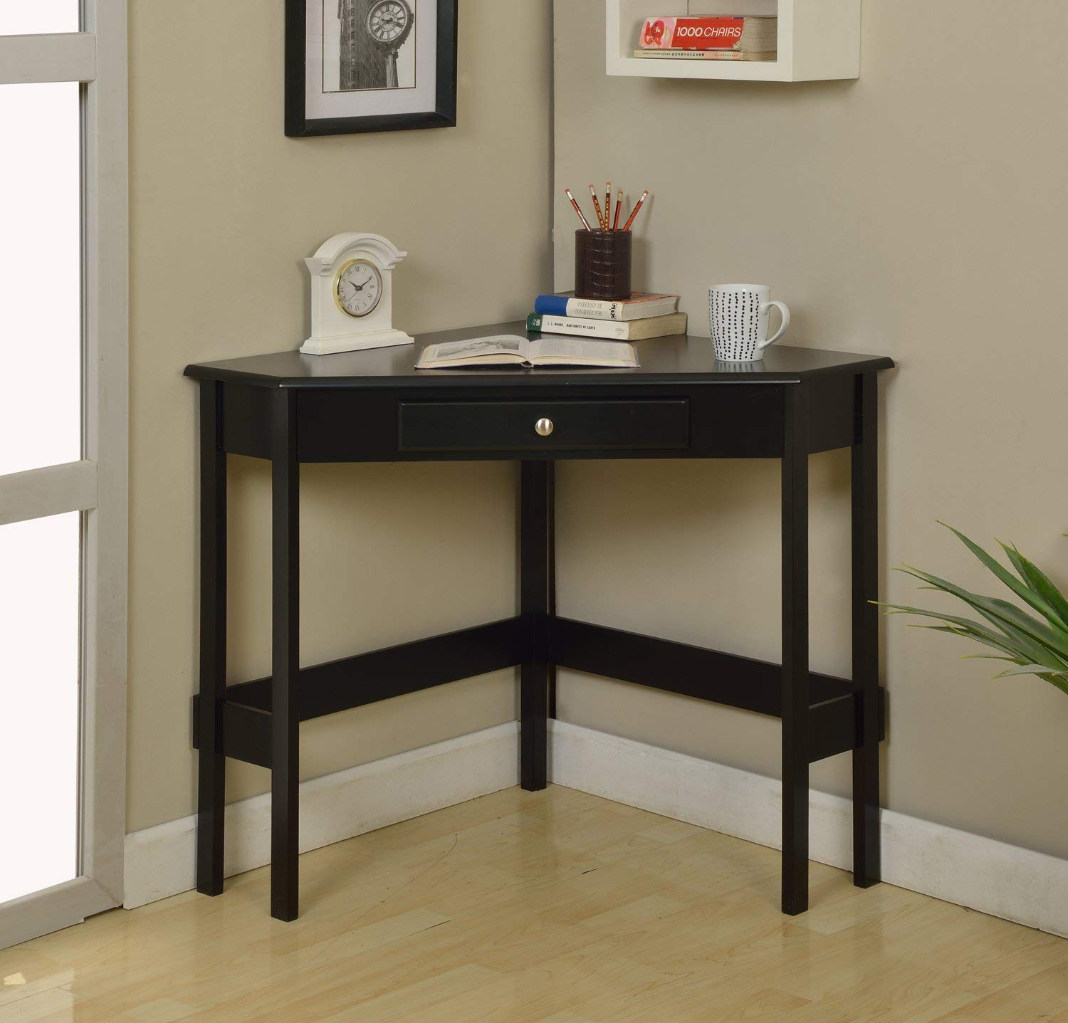 Kings Brand Furniture Wood Corner Desk With Drawer (Black)