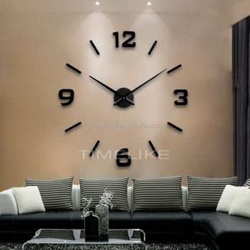 large wall clock decor fashion diy wall sticker clock mirror art