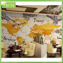 3D retro famous building world map wallpaper western restaurant coffee shop wallpaper