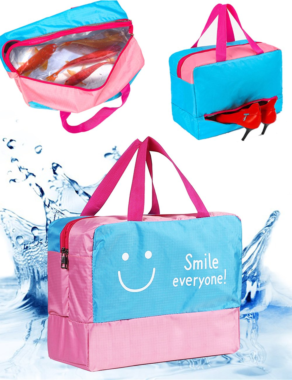 2a4b8634f0c3 Sport Duffel Swim Bag with Shoes Compartment Gym Bag Dry and Wet Separated  Bag Tote Organizer