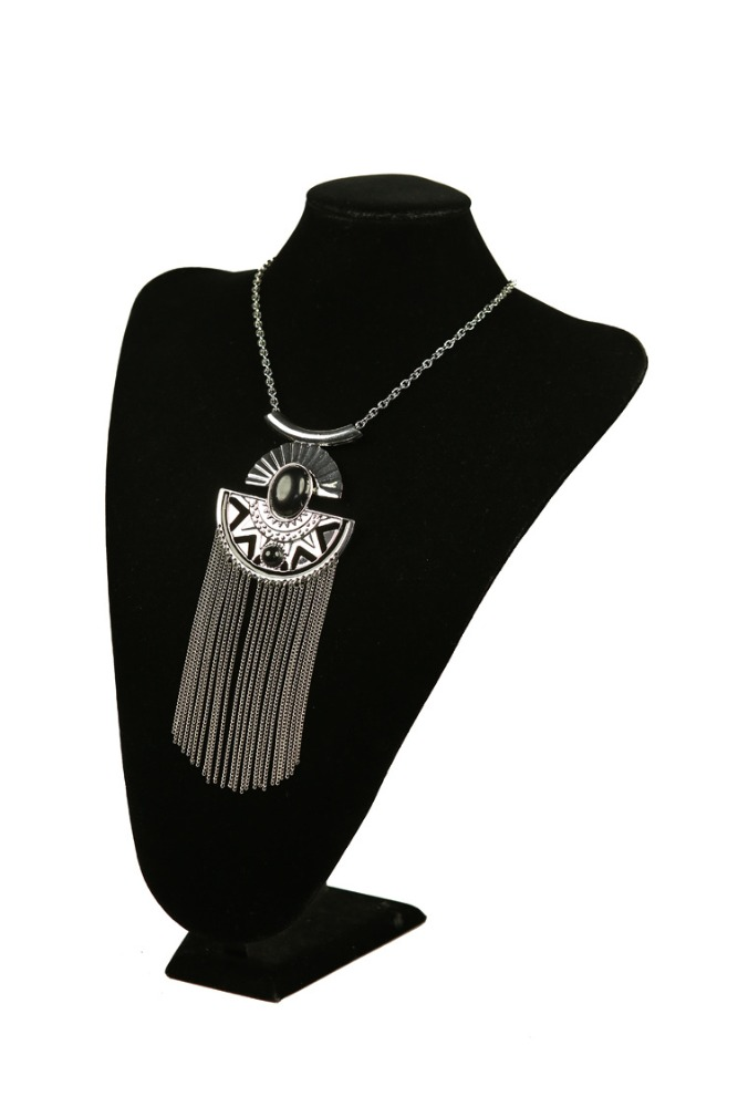 streing silver Designs Girls Wholesale indina silver Jewelry Buyers Black Crystal Multiple Chain Necklace