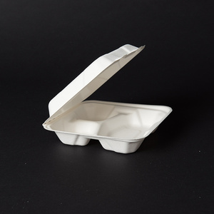 biodegradable tableware of sugarcane bagasse clamshell paper pulp packaging lunch box