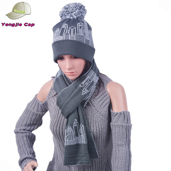 Women Handmade Acrylic Wool Knit Beanie Scarves Sets Heavy Knit Winter Hat  and Scarf f8e3ced5ba4