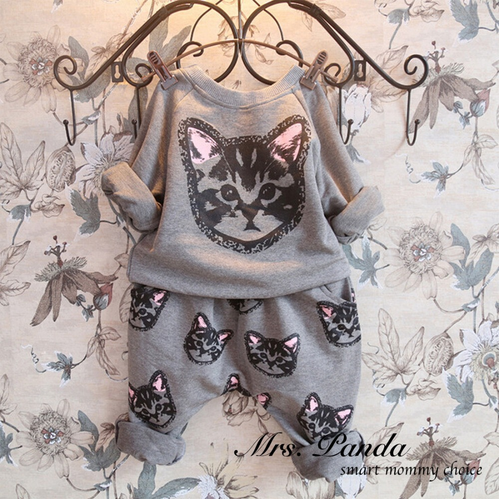 Retail 2016 Spring style Infant clothes Clothing sets Cotton Cute Cat 2pcs Full Sleeve Pants Baby
