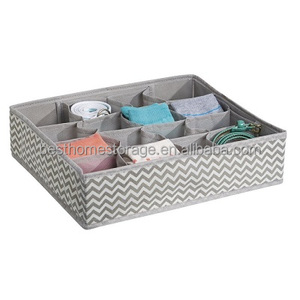Foldable 16 Compartment Underwear Sock Lingerie Underwear Drawer Box Organizer,PP Non-woven Fabric,(Chevron Gray)