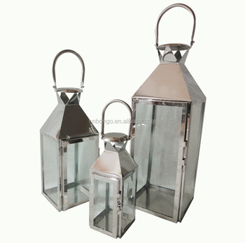 Set Of 3 Stainless Steel Candle Lantern