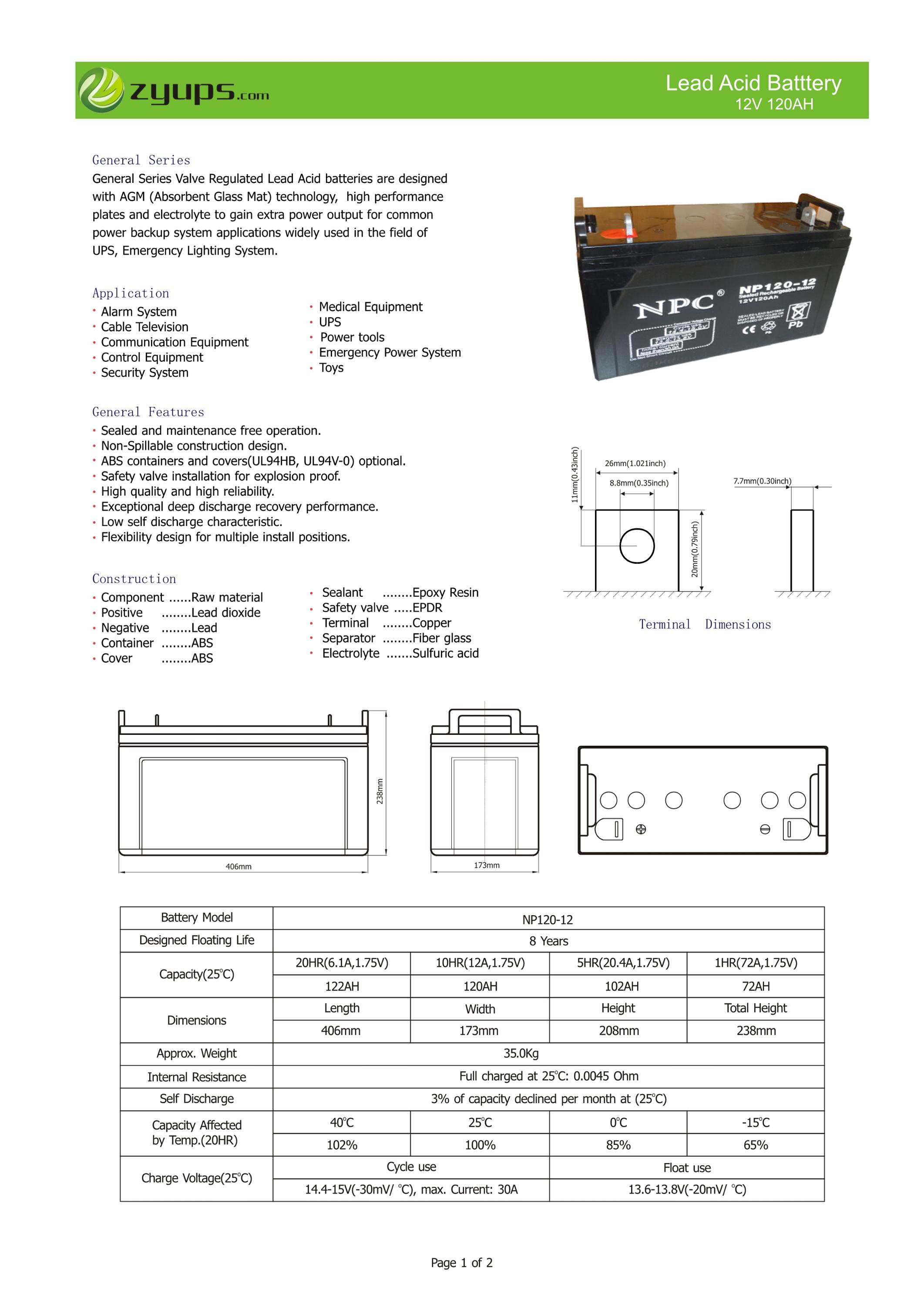 UPS Backup Lead Acid Battery 12V 120AH