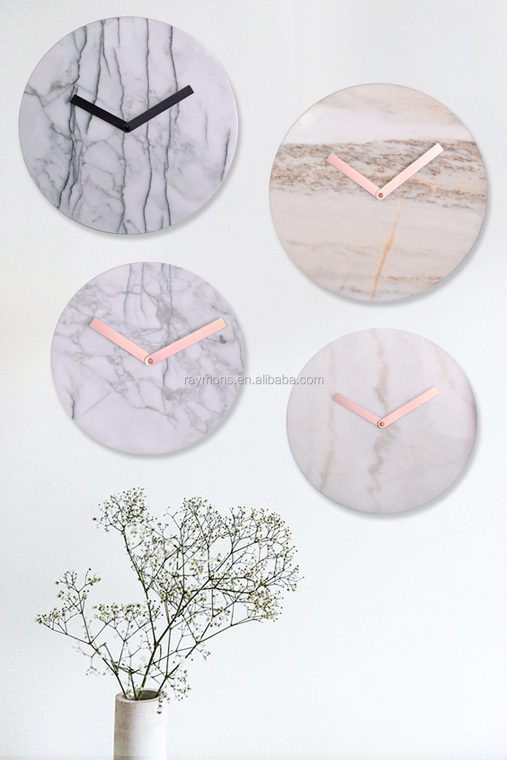2016 Top highly quality real marble big wall clocks