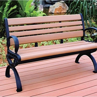 Anti-UV outdoor water proof wood plastic composite park WPC bench with Backrest