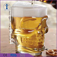 China Factory Unique 500ml Skull Shaped Beer Water Drinking Glass cup
