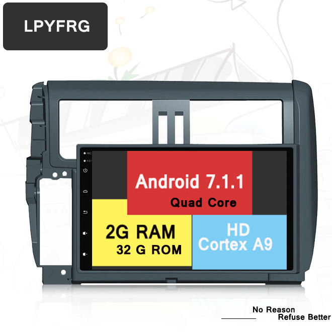 Android6.0/ 7.1 car video dvd payer radio For <strong>Toyota</strong> <strong>Prado</strong> 150 2010-2013 with gps navi 3g wifi car multmedia stereo audio 2G ram