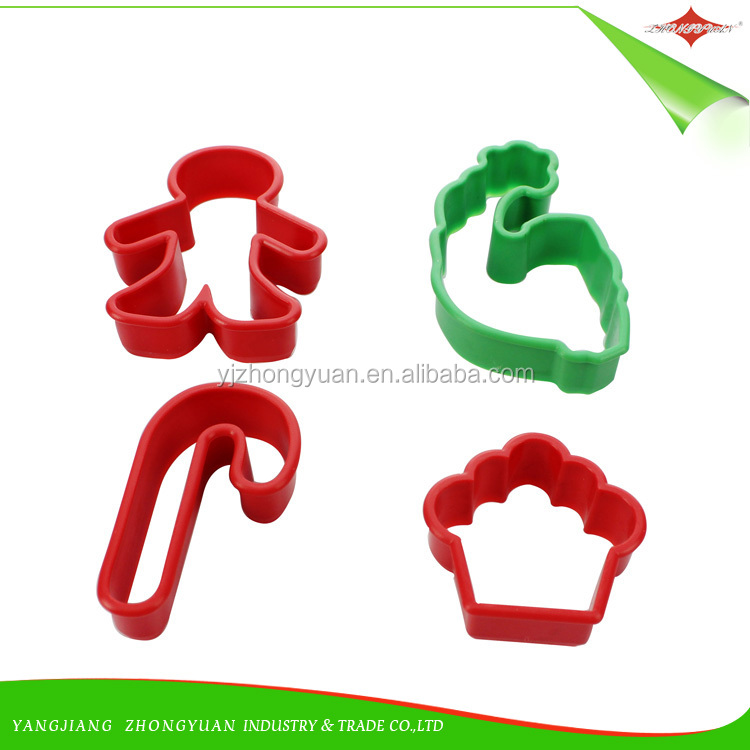 ZY-G2001 wholesale 4pcs Christmas design pp material cookie cutter set