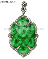 925 Sterling Silver Jade Carved Diamond Pendant