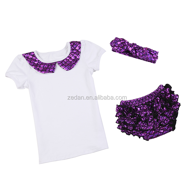 Wholesale baby mermaid outfit with tshirt bloomer and headband