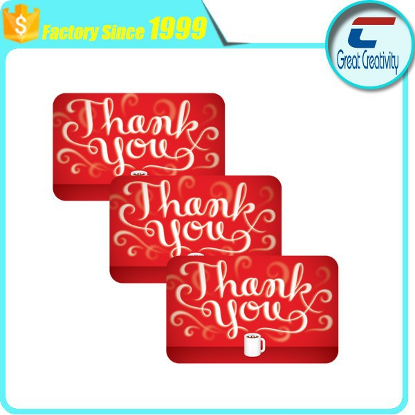 Thank You Letter Plastic Gift Cards/ Thanks Card