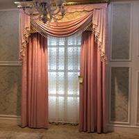 Top grade Egyptian glass sliding door velvet curtain attached valance