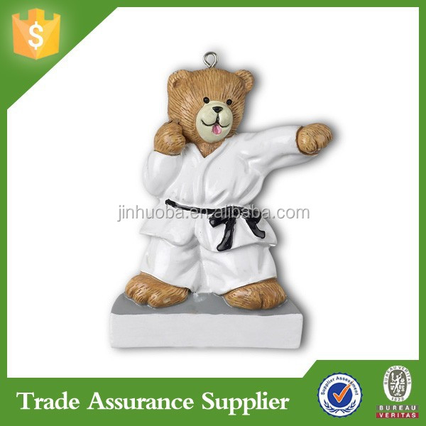 Hanging 3D karate resin bear figurines ornament