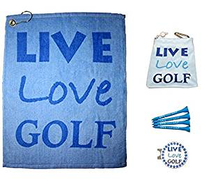 Giggle Golf Par 3 - Golf Diva Towel, Tee Bag and Bling Ball Marker with Hat Clip - Perfect Golf Gift for Women