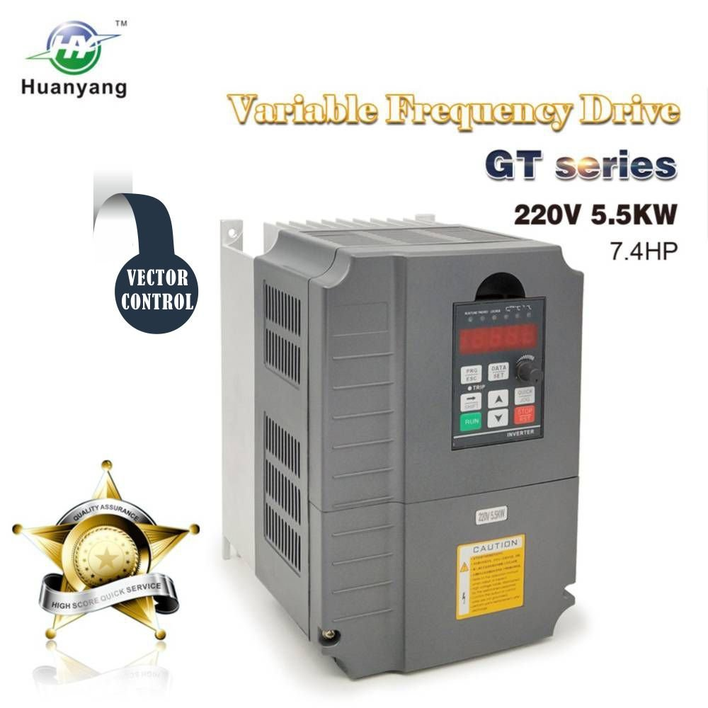 Vector Control CNC VFD Variable Frequency Drive Motor Drive Inverter Converter 220V 5.5KW 7.5HP For Spindle Motor Speed Control HUANYANG GT-Series (220V, 5.5KW)