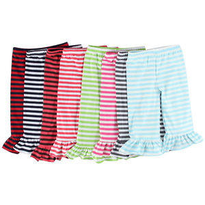 Kids clothing summer 2016 casual kids ruffle leggings colorful girl pants girls of 0-12 years of panty striped bell bottom pants