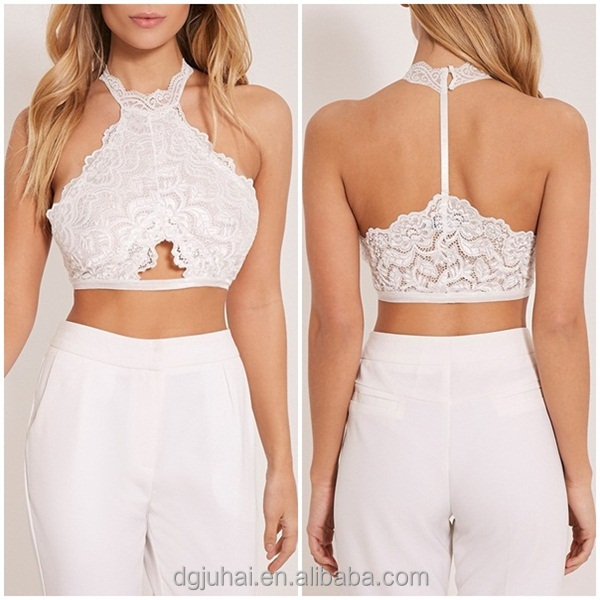 JHB1662 OEM Hot selling new fashion white lace halterneck bralet, custom women crop top