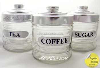 Set Of 3 Gl Jars Coffee Tea Sugar Cookie Sweets Air Lid Kitchen Canister