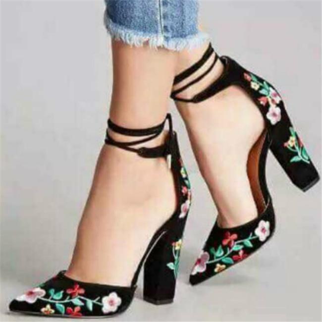 964d88541b4 H10226B 2018 wholesale cheap block heels fashion suede women shoes rose  embroidery women high heel shoes