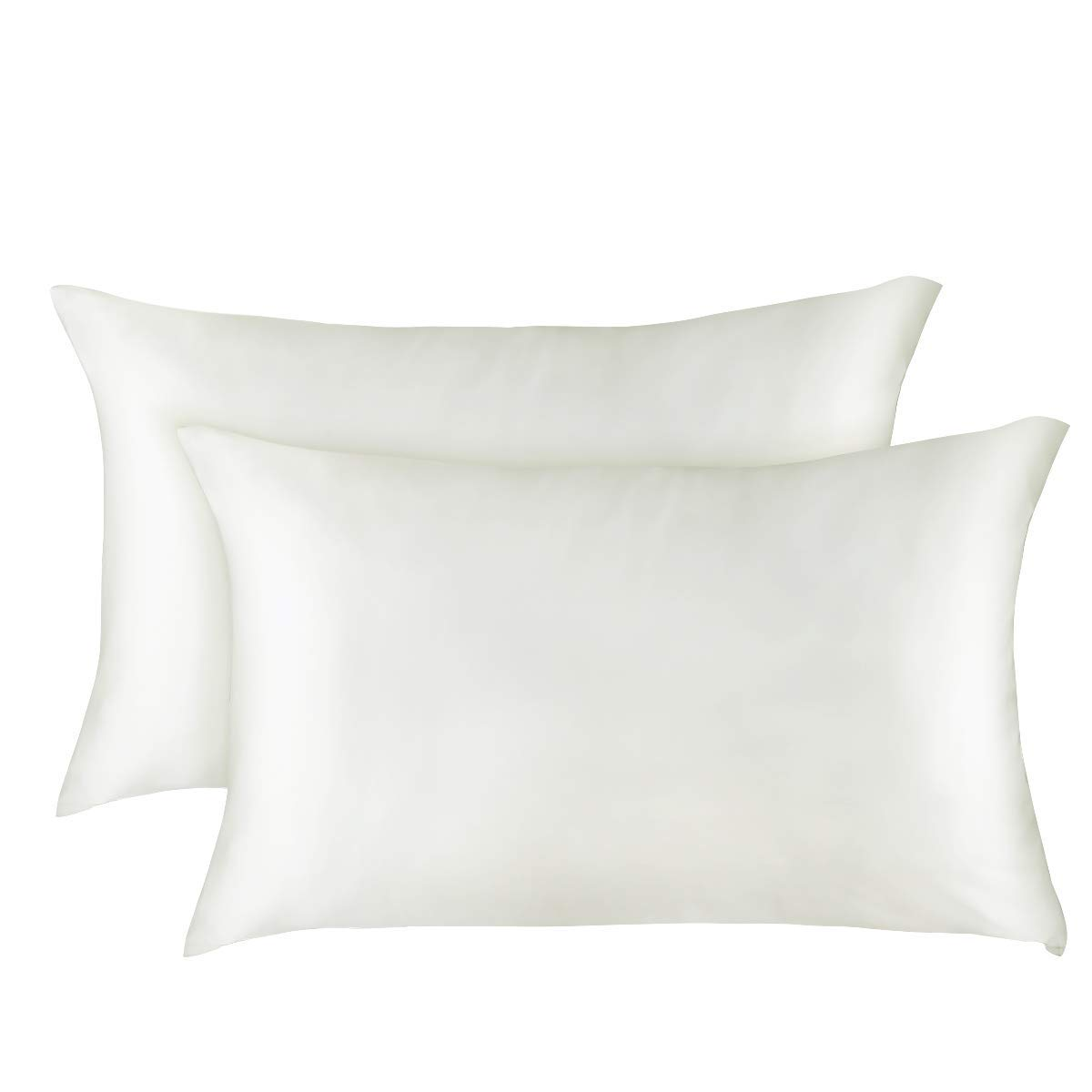 Soft and Luxury White ALCSHOME Standard Silky Satin Pillowcases Hidden Zipper Pack of 2