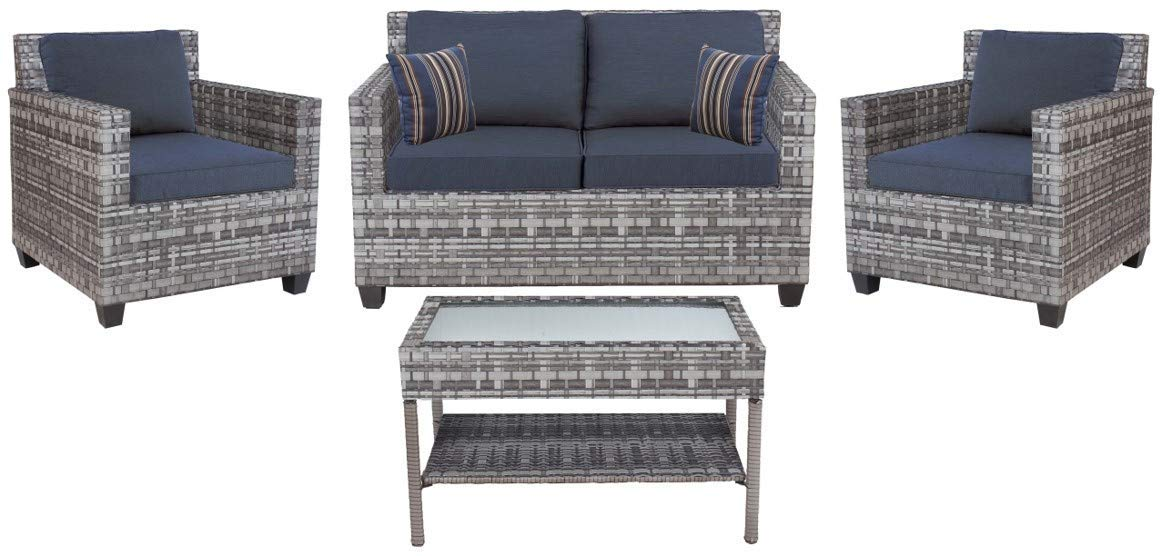 Quality Outdoor Living 65-57373 Austin All Weather 4 Piece Deep Seating Set with Cushions Outdoor, Grey