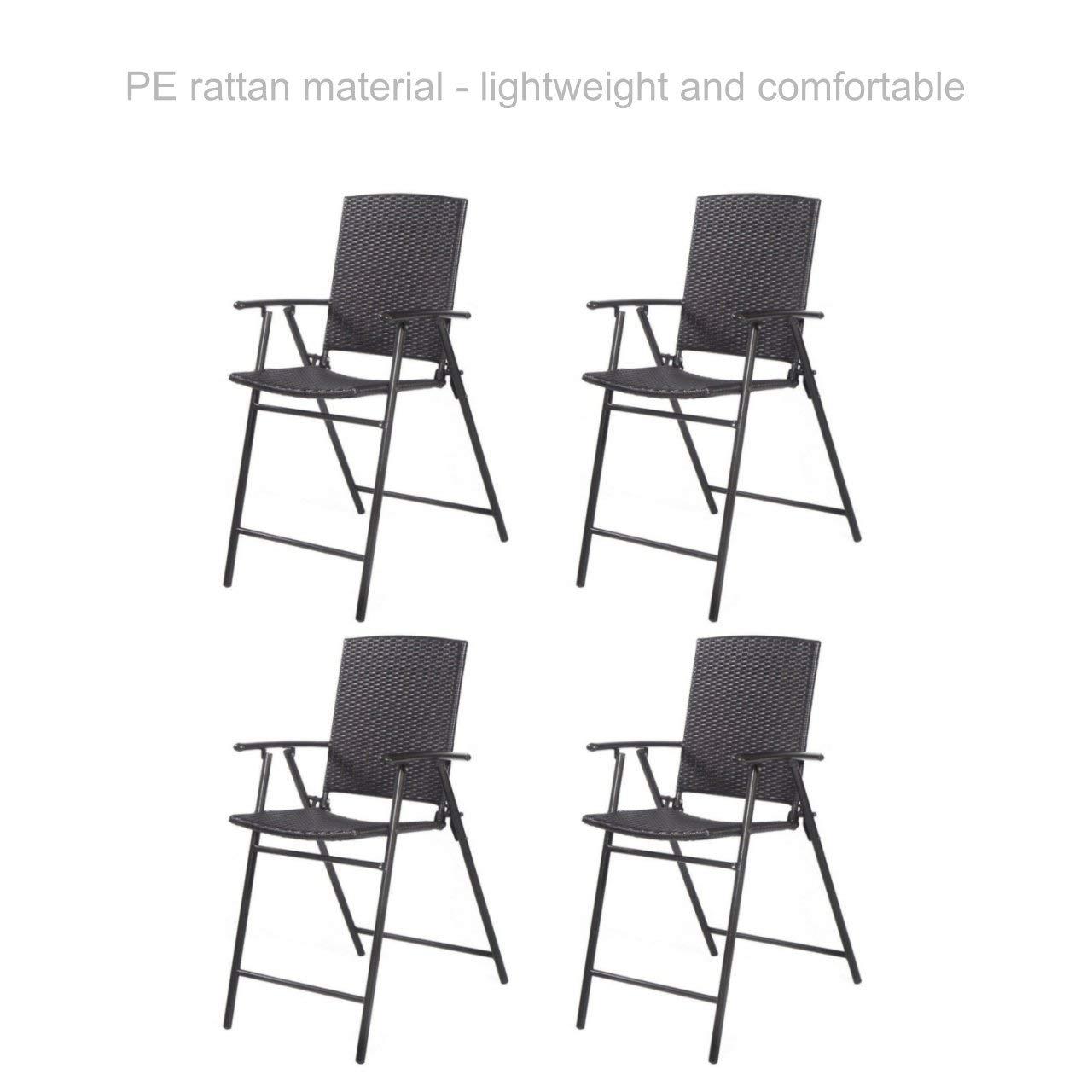 Buy Folding Wicker Bar Stool Chair Sturdy Steel Frame