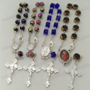 wholesale fashion Religious crystal beads prayer bracelet with cross,chain rosary bracelet,finger rosary,